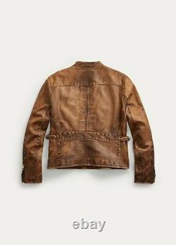 $1,900 RRL Cafe Racer Leather Moto Jacket Men's M Medium Ralph Lauren