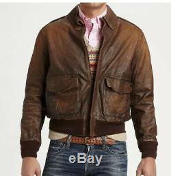 $1295 New Polo Ralph Lauren Large Brown Distressed Leather Jacket RRL A2 Bomber