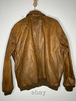 $1298 New Polo Ralph Lauren A2 XXL Brown Distressed RRL Leather Jacket Bomber