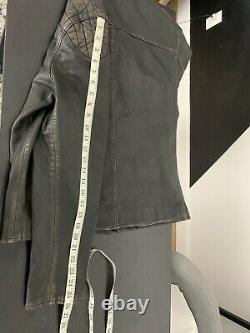 $1298 Polo Ralph Lauren Large Black Brown Leather Jacket RRL Cafe Racer VTG Coat