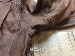 $1595 Polo Ralph Lauren Leather Jacket Hand Distressed Moto Biker Rider Newsboy