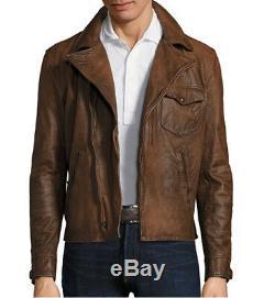 $1595 Polo Ralph Lauren Leather Jacket Men Distressed Moto Biker Rider Newsboy L