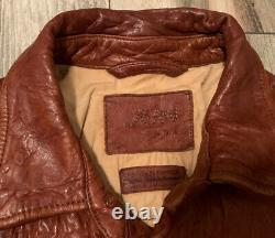 $1900 Vintage Jean Shop Nyc Leather Western Shirt Jacket Coat Distressed Rrl Brn