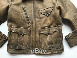 $2200 RRL Ralph Lauren 1920s Distressed Newsboy Cowhide Leather Jacket -MEN- XL