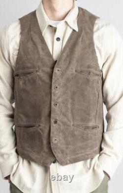 $225 Freenote Cloth Large Wax Cotton Jacket Vest Taupe Faux Leather Hunting