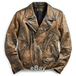 $2400 RRL Ralph Lauren Limited Edition Distressed Motorcycle Leather Jacket- XXL