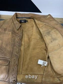 $2400 RRL Ralph Lauren Medium Griggs Leather Jacket Distressed Polo Western 4kIS