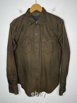 $295 Polo Ralph Lauren Medium Brown Shirt RRL Rugby Western Merrick Distressed