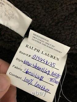 $2995 Polo Ralph Lauren Medium Brown Shearling Bomber Leather Jacket RRL B3 Coat