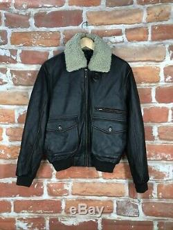 $2k+ Brooks Brothers S Shearling A-2 Distressed Leather Military Bomber Jacket