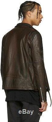 $3000 Authentic Rare FAITH CONNEXION Men Burgundy Distress Biker Leather Jacket