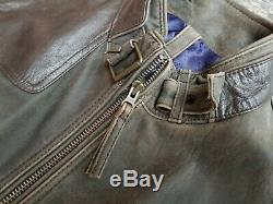 $495 CREMIEUX men's medium distressed lamb skin leather jacket shooter shoulder