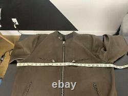 $4950 Tom Ford Large Brown Cafe Racer Leather Jacket Biker Moto L/XL
