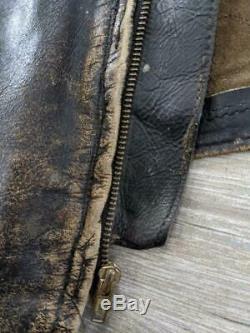 60s vintage BROOKS leather CAFE RACER jacket 38-40 brown DISTRESSED harley patch