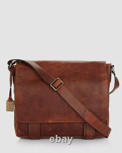 $650 Frye Logan Men's Brown Distressed Leather Crossbody Logo Messenger Bag OS