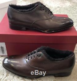 $750 New Salvatore Ferragamo Mens Shoes Brown Distressed Paint Size 8 US 7 UK 41