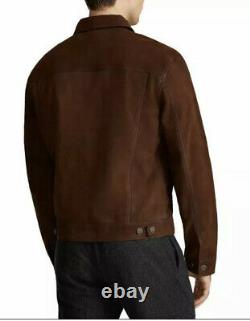 $898 Polo Ralph Lauren Large Brown Nubuck Suede Trucker Jacket RRL Leather Rugby