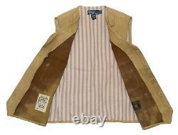 $995 Polo Ralph Lauren Mens Leather Western Indian Vest Tan Beige Brown Medium