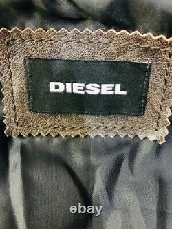 $998 Rare DIESEL Men's Designer Aged Distress Brown Biker Leather Racer Jacket L