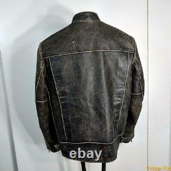AMERICAN EAGLE Lambskin Leather Cafe racer Jacket Mens Size L Distressed brown