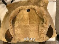 AVIREX B-3 Mouton A-324 Flight DISTRESSED Brown Leather Bomber Jacket Size 40