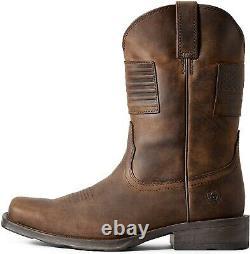 Ariat 254520 Mens Rambler Patriot Cowboy Boot Distressed Brown Size 9.5 EE Wide