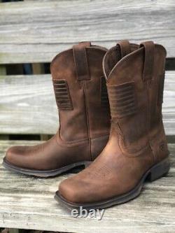 Ariat Men's Rambler Patriot Distressed Brown Square Toe Boots 10029692