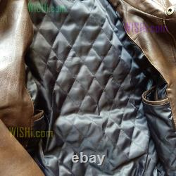 Aviator A2 Leather Flight Jacket Real Distressed Brown Bomber Mens@free Shipping