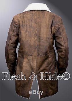 Bane Real Cowhide Batman Dark Knight Rises Distressed Brown Tom Hardy Coat