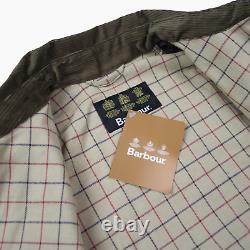 Barbour Beaufort Hickory Distressed Dry Wax Mens Jacket Coat L Large BNWT Brown