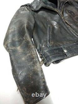 Beautiful Vintage Police/CHP Style Distressed Brown Leather Jacket MADE IN USA