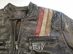 Belstaff Black Prince distressed Brown Leather Biker Jacket Size 42 Very Rare