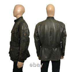 Belstaff Panther 1966 Aged Brown Men's Leather Biker Jacket Size M Medium 42