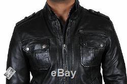 Brandslock Mens Genuine Leather Biker Jacket Distressed Slim Fit