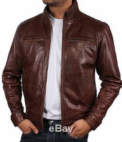 Brandslock Mens Genuine Leather Biker jacket Bomber Distressed