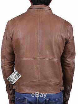 Brandslock Mens Genuine Leather biker Jacket Slim Fit Distress Vintage Classic