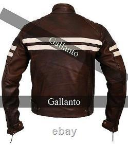 Brown Cruiser Biker Leather Jacket Vintage Motorcycle Armoured Roma Distressed