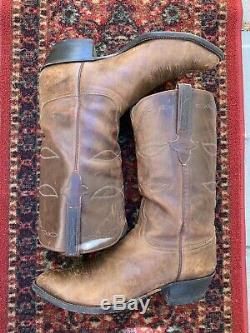 Brown Distressed Lucchese Rockabilly Western Cowboy Trail Boss Boots 12 D