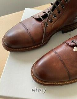 Brunello Cucinelli Leather Cap Toe Boot 41 7 UK 8 US Distressed Brown Italy $995