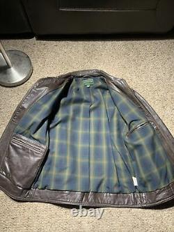 CC Filson Co. Seattle Brown distressed Leather Jacket Size Small Plaid Lined