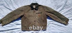 Carhartt J97 cht Detroit brown Jacket Blanket Lined DISTRESSED LARGE USA Vtg