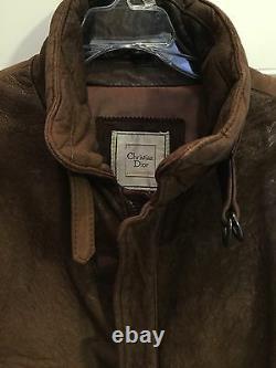 Christian Dior Distressed VTG Brown Leather Bomber Jacket Coat So Soft Size 40