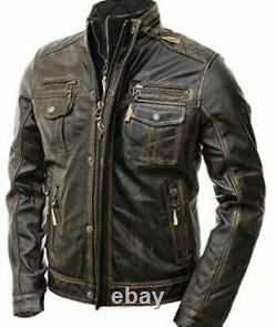 Classic Diamond Motorcycle Biker Brown Distressed Vintage Leather Jackets Armor