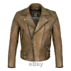Classic Diamond Motorcycle Biker Brown Distressed Vintage Leather Jackets Armour