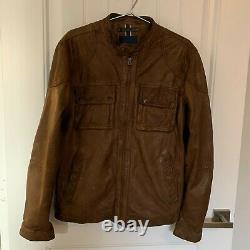 Cole Haan Brown Distressed Lambskin Leather Jacket Coat Men's Size Medium M NEW