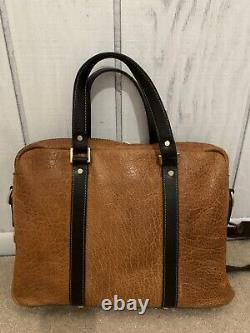 Coronado All Weathered Distressed Leather Bison Briefcase Travel Bag Rare Zip