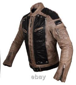 DIESEL LEATHER JACKET mens coat M DISTRESSED VINTAGE BROWN MEDIUM black FLYING