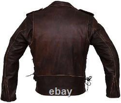 DIstressed Brown Brando Biker Cowhide Leather Jacket