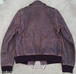 DSQUARED leather jacket brown bomber aviator distressed dsquared2 slim M 40 50