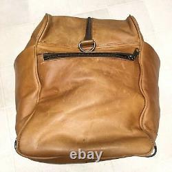 DayTimer Vintage Leather Satchel Bag Travel Tote Overnighter Distressed Tan